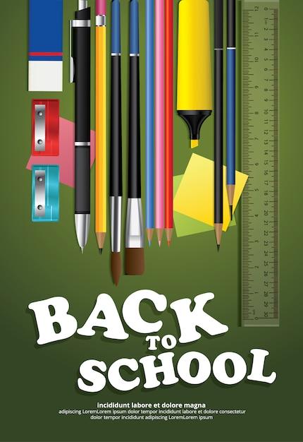 Cartaz de volta à escola design template illustration Vetor grátis