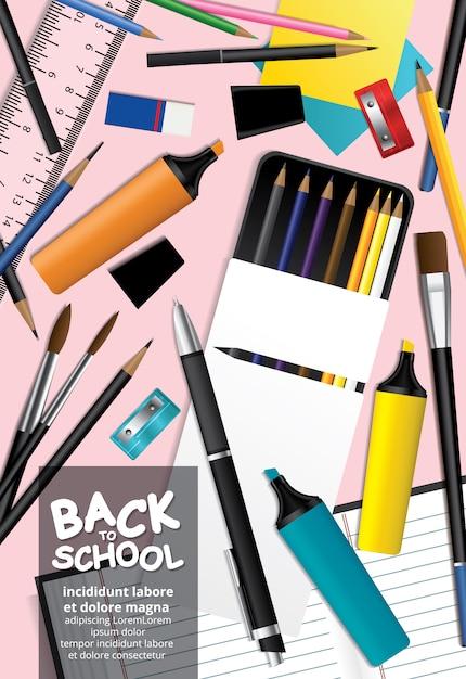 Cartaz de volta à escola design template illustration Vetor Premium