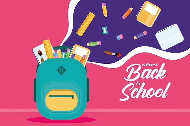 Cartaz de volta às aulas com mochila e material Vetor Premium