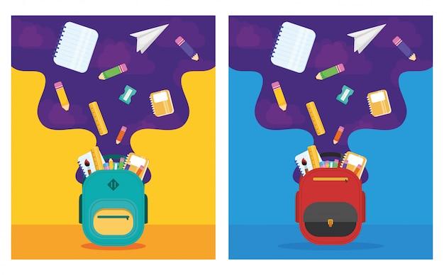 Cartaz de volta às aulas com mochilas e material escolar Vetor Premium