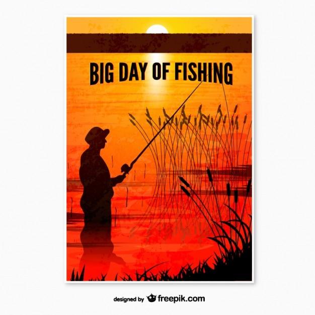Cartaz dia de pesca Vetor Premium