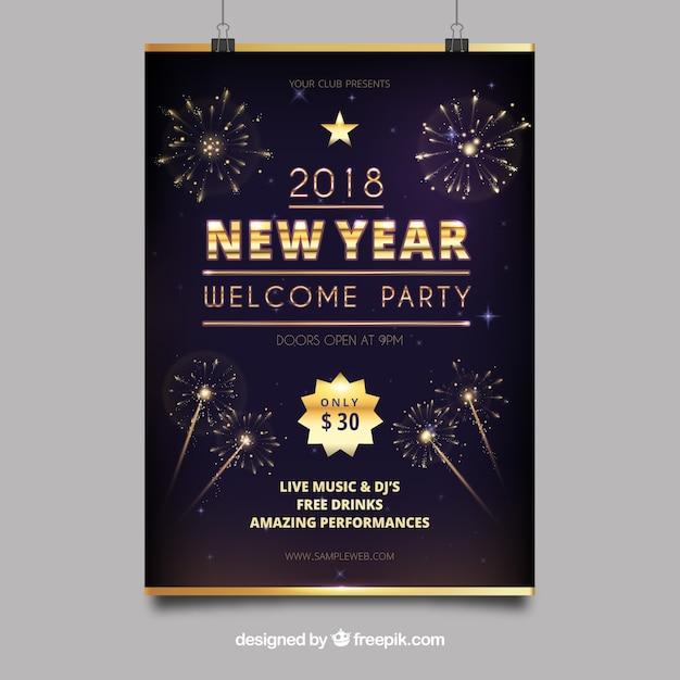 Cartaz do ano novo da festa Vetor grátis