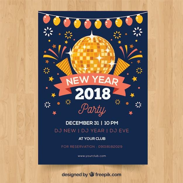 Cartaz do ano novo do partido com uma bola de discoteca e fogos de artifício Vetor grátis