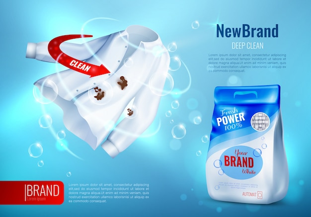 Cartaz do anúncio do detergente para a roupa Vetor grátis