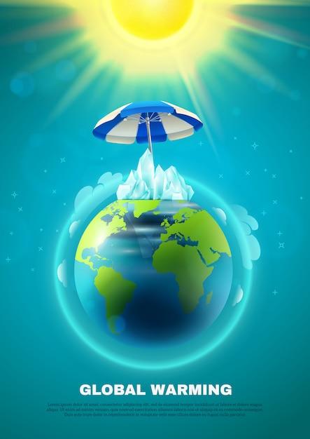 Cartaz do aquecimento global Vetor grátis