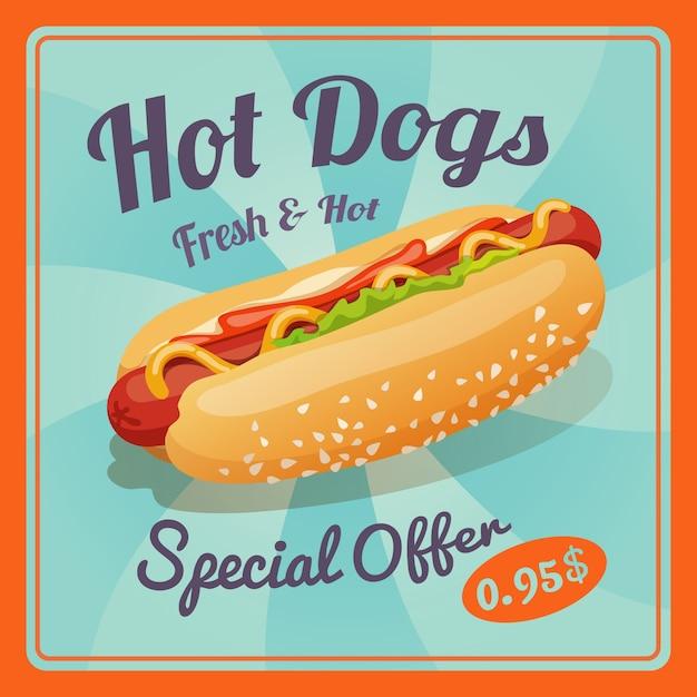 Cartaz do cachorro quente Vetor grátis
