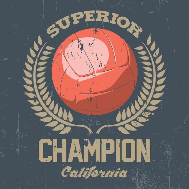 Cartaz do campeão da califórnia superior com uma grande bola no centro ilustração Vetor grátis