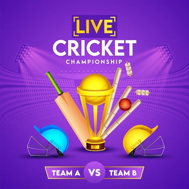 Cartaz do campeonato de críquete ao vivo com a copa do troféu de ouro, taco realista, bola, wicket e capacetes da equipe participante a e b no fundo do estádio roxo. Vetor Premium