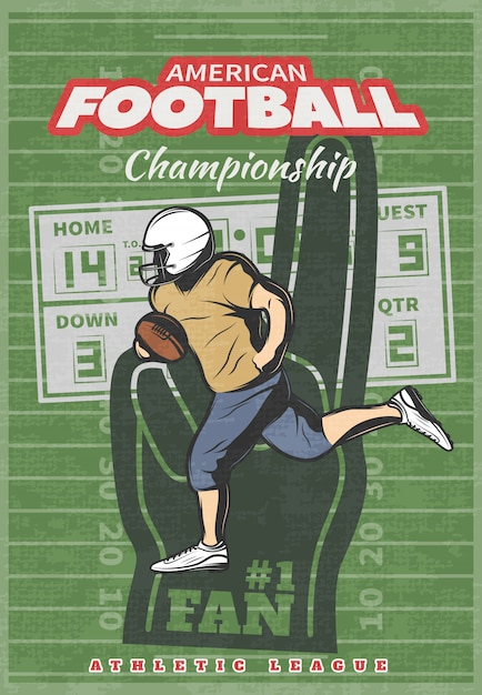 Cartaz do campeonato de futebol americano com placar de mão de espuma de jogador em execução no campo desgastado verde Vetor grátis