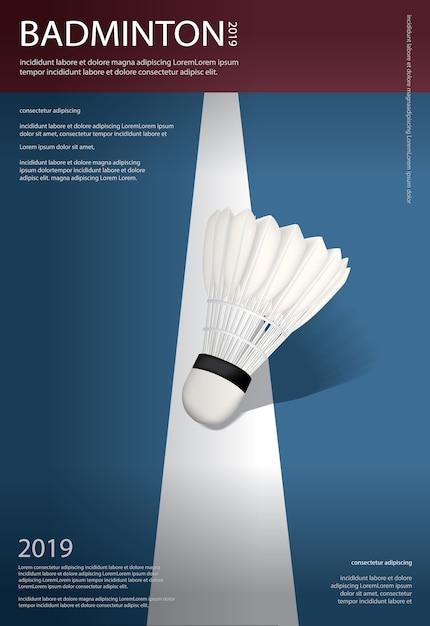 Cartaz do campeonato do badminton Vetor Premium