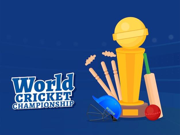 Cartaz do campeonato mundial de críquete com bastão, bola, capacete, wickets e copa do troféu sobre fundo azul. Vetor Premium