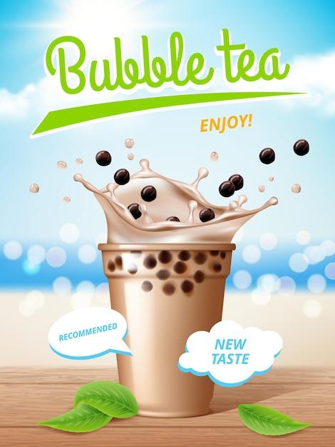 Cartaz do chá da bolha. leite líquido deliciosas bebidas de tapioca com respingos de cartaz promocional. Vetor Premium