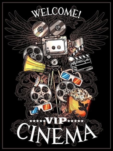 Cartaz do cinema do doodle Vetor grátis