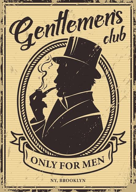 Cartaz do clube de cavalheiros vintage Vetor grátis