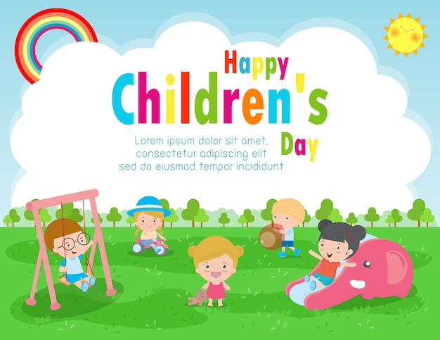 Cartaz do dia da criança feliz com ilustração do fundo do cartão de crianças felizes projeto do dia internacional da criança Vetor Premium