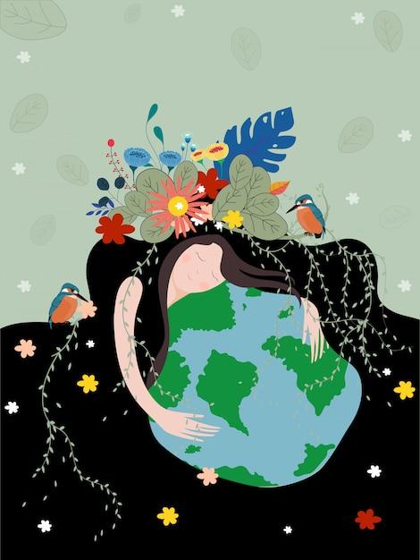 Cartaz do dia da mãe terra com o planeta Vetor Premium