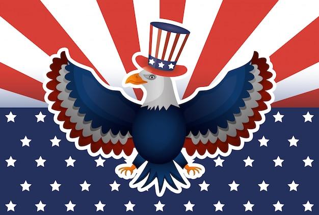 Cartaz do dia de presidentes com eua tophat e águia Vetor Premium