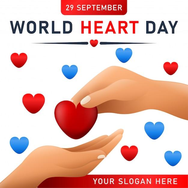 Cartaz do dia mundial do coração. banner da web com coração vermelho. Vetor Premium
