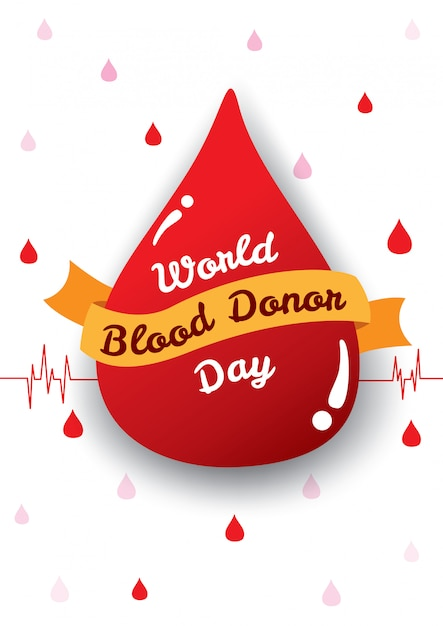 Cartaz do dia mundial do doador de sangue Vetor Premium