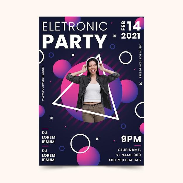 Cartaz do evento de música 2021 em estilo memphis Vetor grátis