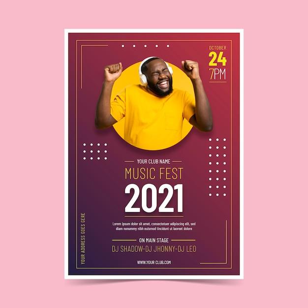 Cartaz do evento de música 2021 Vetor grátis