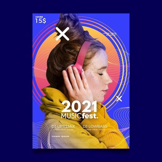 Cartaz do evento de música para o projeto 2021 Vetor grátis