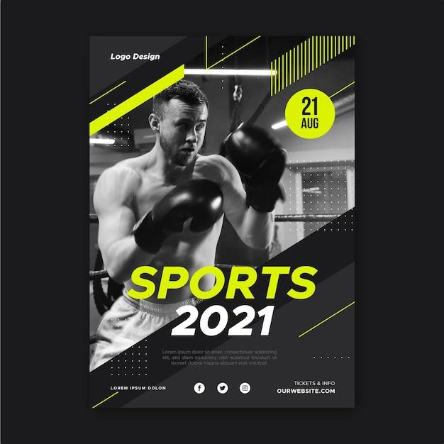Cartaz do evento esportivo 2021 Vetor Premium