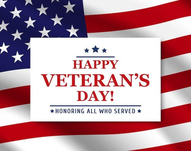 Cartaz do feliz dia dos veteranos com o fundo da bandeira dos eua Vetor Premium