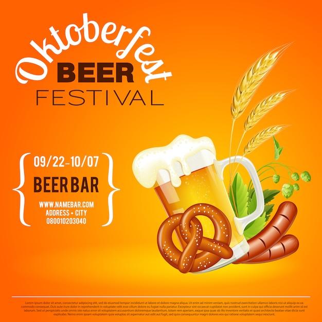 Cartaz do festival da cerveja de oktoberfest Vetor Premium