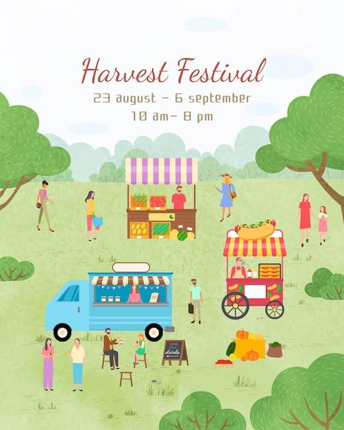 Cartaz do festival da colheita datas de convite para o evento Vetor Premium