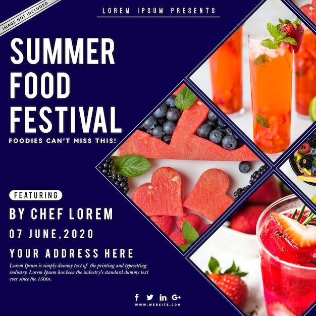 Cartaz do festival de comida de verão Vetor Premium