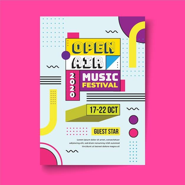 Cartaz do festival de música ao ar livre Vetor Premium