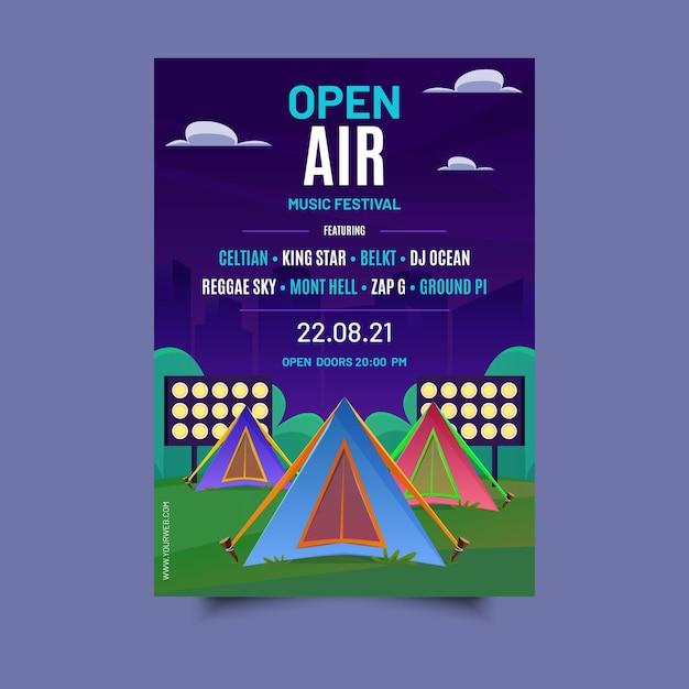 Cartaz do festival de música ao ar livre Vetor grátis
