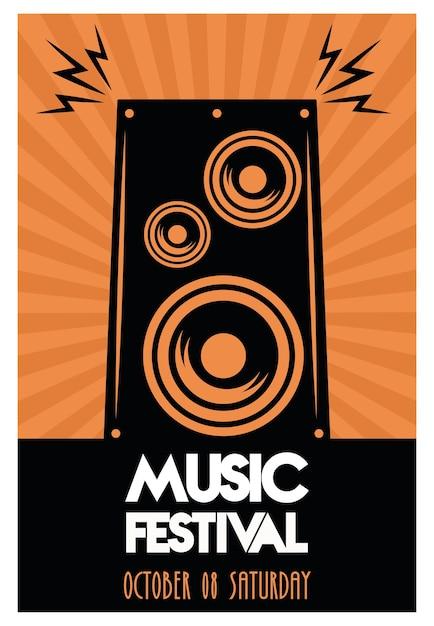 Cartaz do festival de música com alto-falante em fundo laranja. Vetor Premium
