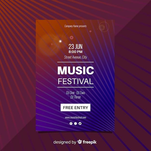 Cartaz do festival de música de linhas retas Vetor grátis