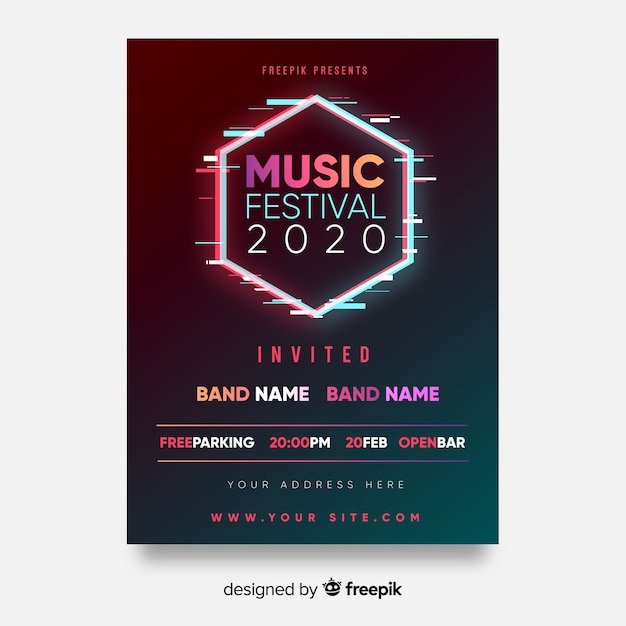 Cartaz do festival de música do hexágono Vetor grátis