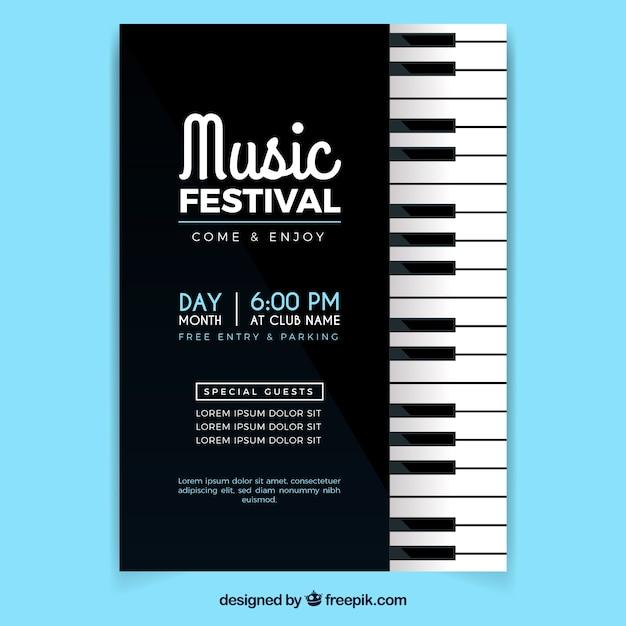 Cartaz do festival de música em estilo plano Vetor grátis