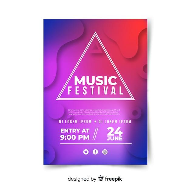 Cartaz do festival de música gradiente Vetor grátis