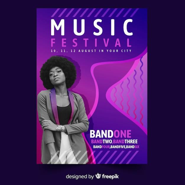 Cartaz do festival de música Vetor grátis