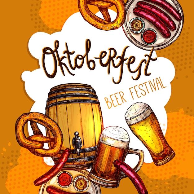 Cartaz do festival de oktoberfest Vetor Premium