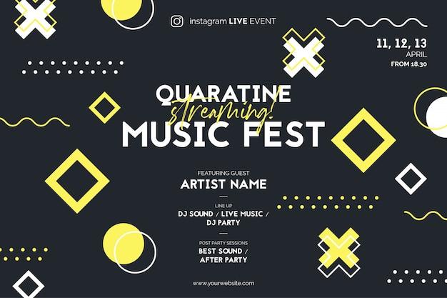 Cartaz do festival de streaming de música para o instagram live event Vetor grátis