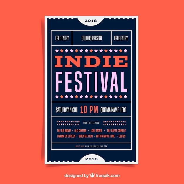 Cartaz do festival em estilo simples Vetor grátis