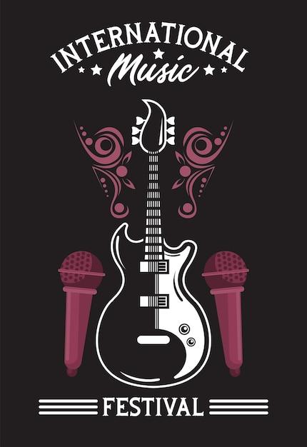 Cartaz do festival internacional de música com guitarra elétrica e microfones em fundo preto Vetor Premium