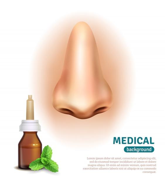 Cartaz do fundo médico da garrafa do pulverizador de nariz Vetor grátis
