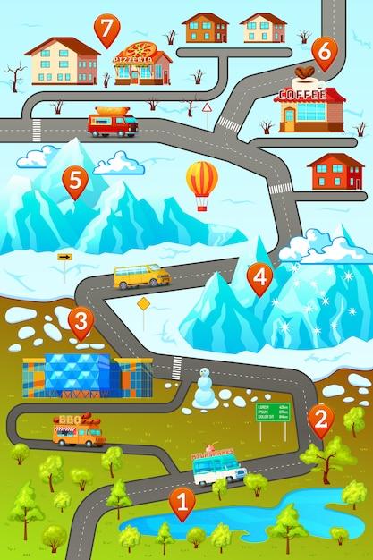 Cartaz do mapa de estradas das montanhas Vetor grátis