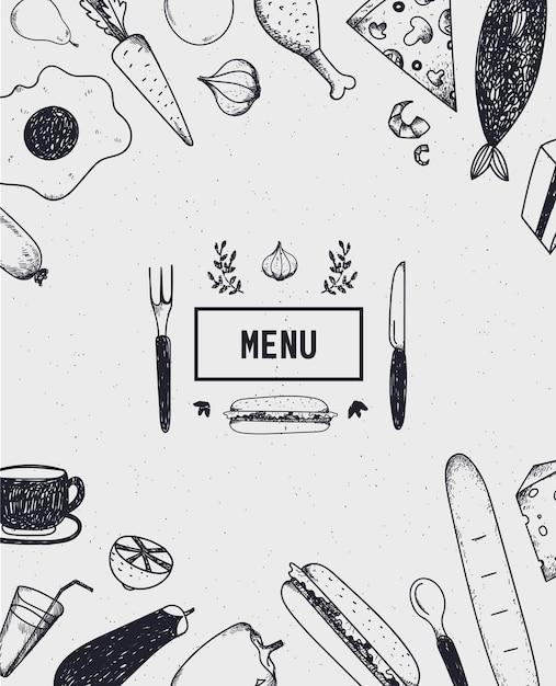 Cartaz do menu, capa com comida desenhada à mão. cartaz de comida, cartão. preto e branco. modelo de menu de restaurante, café Vetor Premium