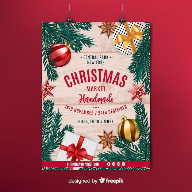 Cartaz do mercado de christmast Vetor grátis