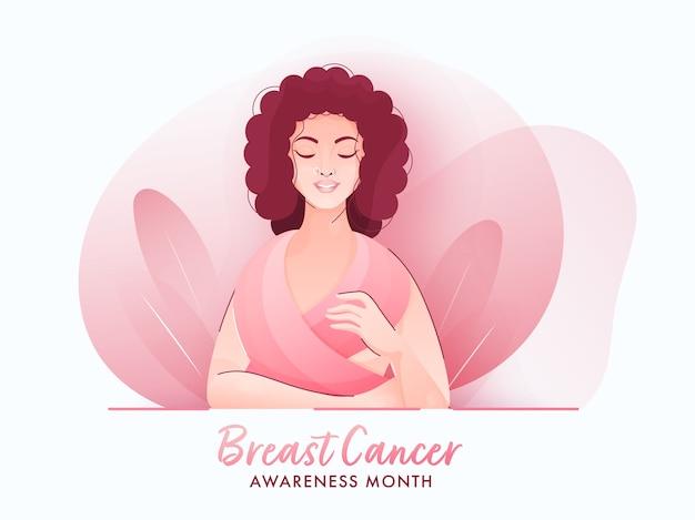 Cartaz do mês de conscientização do câncer de mama com jovem mulher cobrindo o corpo de lenço rosa sobre fundo branco abstrato. Vetor Premium