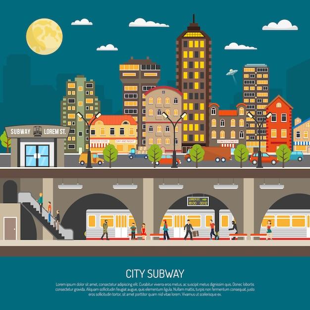 Cartaz do metrô da cidade Vetor grátis