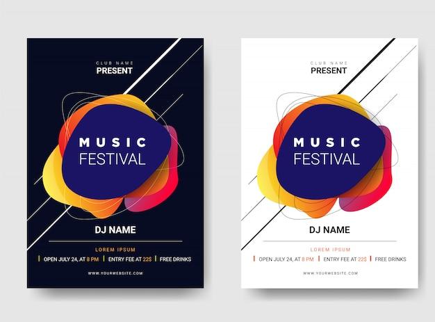 Cartaz do molde / festival de música do insecto. com combinação de cores gradiente. Vetor Premium